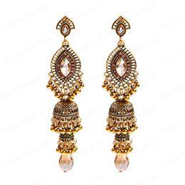 Wholesale tribal indian resale online - Indian Jhumka Jhumki Women brincos Metal Long Crystal Beads Dangle Hanging Earrings Boho Gypsy Tribal Jewelry