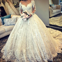 puffy winter wedding dresses NZ - Graceful Ball Gown Wedding Dresses 2021 Sheer Bodice Scoop Neck Long Sleeves Tulle Puffy Bridal Gowns Wedding Dress