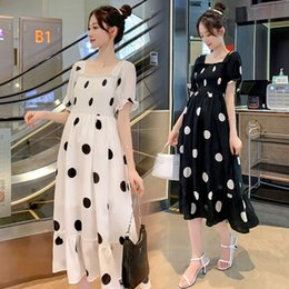 Wholesale maternity clothes collar for sale - Group buy 9398 Maternity Clothes Summer square collar Dot Short Sleeve knee length Easy Matching Loose Stylish Dress for Pregnant Women