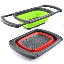 fruit colander UK - Kitchen Collapsible Colander Over The Sink Folding Veggies Fruit Strainers and Colanders with Extendable Handles JK2003