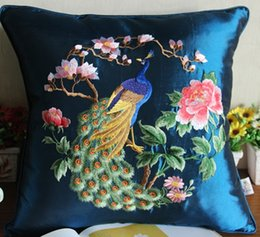 peacock chairs NZ - Animal Embroidery Peacock Cushion Cover Christmas Pillowcase Cushions Home Decor Sofa Chair Cushion Silk Satin Pillow Case