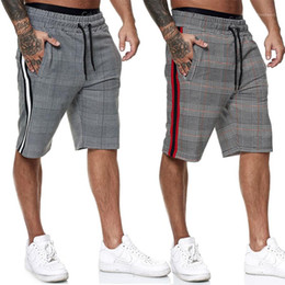 Wholesale men plaid pant for sale - Group buy Men Casual Striped Shorts Summer New Mens Elastic Waist Jogger Shorts Brand Streetwear Plaid Pants