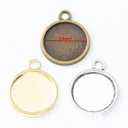 gold pendant trays Australia - 50pcs 22*27MM Fit 18MM Antique bronze gold blank pendant base silver color cameo cabochon setting metal stamping tray bezel