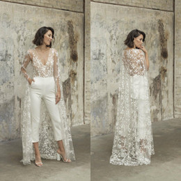 sheer lace jacket wedding dresses NZ - Lace Stain Wedding Jumpsuit with Long Cape Jacket 2021 Sexy V-neck Beach Garden Bridal Outfit Wedding Dress with Pant Suit