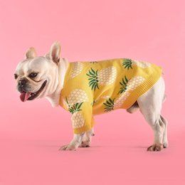 clothes pugs UK - Warm Dog Clothes French Bulldog Pets Clothing For Medium Large Dogs Costume Pineapple Print Dog Sweater Pug Pet Clothes For Dogs T200710