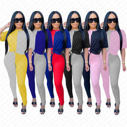 Wholesale color block t shirts online – design Women Tracksuit Designer Patchwork Color Short Sleeve Crew Neck T Shirt Leggings Pants Two Piece Set Outfits Color Block Sports Suit D72303