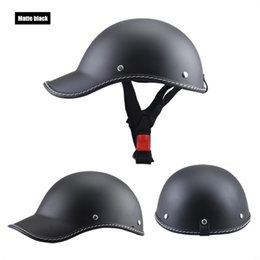 helmet black Australia - Half Face Vintage Motorcycle Helmet Retro German ,Cafe Racer,Scooter,Cruiser,Chopper,Matte black,EPS lining,DOT approvedfff