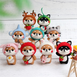 kids craft kits wholesale UK - Lovely Doll Wool Felt Craft DIY Non Finished Poked Set Handcraft Kit for Needle Material Bag Pack Kids Gift DEC590