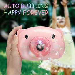 sound machines wholesale UK - Bubble Machine for Kids Pig Camera Shape Automatic Bubbling Toy for Children with LED Sound Outdoor Activity Summer Toys