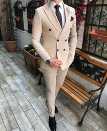 custom make clothes Canada - Beige Formal Men Suits For Wedding Tuxedos Slim Fit Double Breasred Blazer 2 Piece Custom Made Busine Man Tailor Made Clothing(Jacket+Pants)