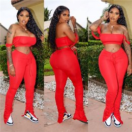 Wholesale camisole long for sale – plus size Womens Summer Slim Two Piece Pants Designer Casual Short Camisole Tops Long Stacked Split Suits Sexy Female Backless Tracksuits