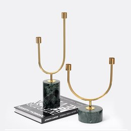 simple candle holders UK - Simple Modern Candle Holder Marble Stainless Candlestick Bougeoir Argent Luxury Retro Iron Gold Home DecorationsFF80C5
