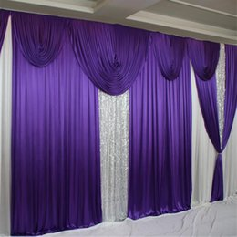 purple white backdrop NZ - 20ft*10ft Purple Ice Silk Wedding Backdrops Curtain with White Swag Drapes 3m*6m Party Event Stge Backgrounds Drapes