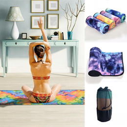 wholesale mesh sports bags Canada - Stock Yoga Mat Print Quick Dry Non-Slip Starry sky Foldable Yoga Towel Fitness Blanket with Mesh Bag Sports Mat 183*63 FY6255
