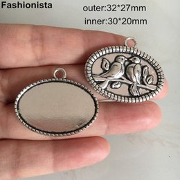 oval pendant mountings UK - Birds Blank Pendant Tray Antique Silver Plated Big Oval Cabochon Base Mounting 32*27mm (inside 30*20mm) Base Settings o3mR#