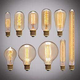 Retro Edison Light Bulb E27 220V 40W ST64 G80 G95 T10 T45 T185 A19 A60 Filament Incandescent Ampoule Bulbs Vintage Edison Lamp on Sale