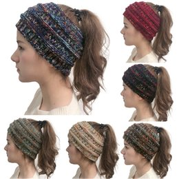 crochet hat bands Canada - Women Knitted Cable Headband Winter Headwrap Hairband Crochet Turban Head Band Wrap Colorful Ear Warmer Trendy Letter Hair Accessories