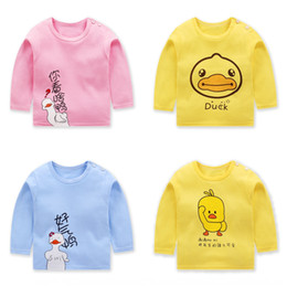 baby boy korean style clothing Canada - qNN3P long-sleeved T- T- children's clothing cotton 20 Spring and Autumn New Korean style children's wear boys' single-piece baby shirt bas