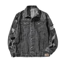 Wholesale mens clothing trends online – design Mens Ripped Clothes Denim Jacket Plus Size Spring and Autumn Loose Jacket Trend Japanese Male Tops