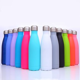 water bottle wholesale for sports UK - BIG SALE! 17oz Coke Bottle Summer Cola Can Cooler Double Vacuum Insulated Water Bottle Sport Tumbler for Outdoor Travel 8 Colors A11