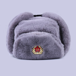 bomber hats Australia - Soviet Badge Ushanka Russian Men Women Winter Hats Faux Rabbit Fur Army Military Bomber Hat Cossack Trapper Earflap Snow Ski Cap T200718
