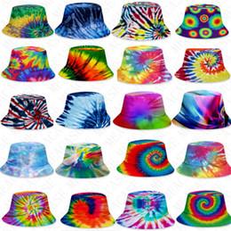 Wholesale gradient Tie-dye bucket hat Summer caps unisex Visor flat top sunhat fashion outdoor hip-hop Fisher cap adults kids beach sun hats D71502