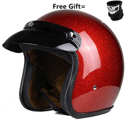 motorcycle helmets black open UK - RED Vintage motorcycle helmet open face helmet DOT approved Retro moto casco capacete motociclistas capacete CE
