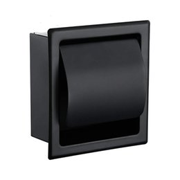 metal tissue box holder UK - Black Recessed Toilet Tissue Paper Holder All Metal Contruction 304 Stainless Steel Double Wall Bathroom Roll Paper Box T200425