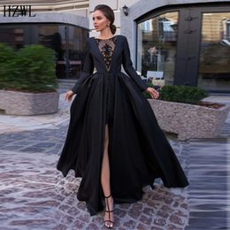 picture petite nude 2020 - Black A Line Simple Women Prom Dresses Lace Satin Formal Evening Dresses Party Gowns Front Split Long Sleeve vestido de