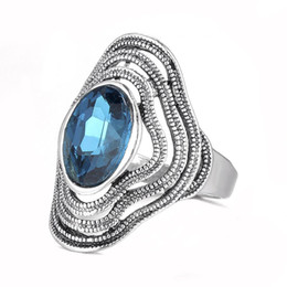 wholesale vintage style crystal rings UK - Factory direct vintage crystal rhinestone Women vintage ring silver plated retro lady summer new hot style design jewelry ring wholesale