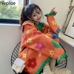 doll knitting NZ - Neploe Autumn Winter Doll Collar Thicked Flower Print Knit Sweater Ins Conteast Color Patchwork Long Sleeve Pull Femme New 48206 Y200720