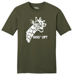 giraffe prints UK - Mens Was' Up Giraffe Cute Animal Shirt Soft Tee Graphic