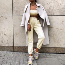 Wholesale women working pants for sale – dress 2020 Autumn Winter Pants Women Ankle Length Woolen Pant High Waist Pocket Trousers Work Casual Solid Wear Pencil Pant