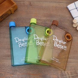 water bottle ring Australia - Portable Students transparent Plastic Water Bottles notebook Creative Square Tumbler finger ring outdoor sports travel cups flat Book Kettle