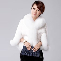Wholesale winter white poncho for sale – winter Savabien Winter Fashion Women Faux Coat Luxury Wedding Bride Faux Fur Poncho Female Fur gilet Plus Size Overcoat