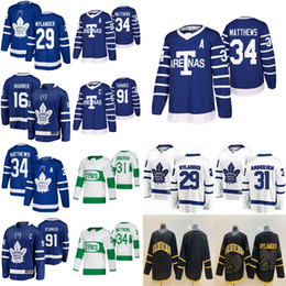 Toronto Maple Leafs Hockey Jerseys Auston Matthews Джерси Митчелл Марнер Джон Таварес Фредерик Андерсен Рильли Уильям Ниландер сшитые на Распродаже