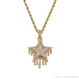 gold star pendant men NZ - hip hop star diamonds pendant necklaces for men women western luxury tassel necklace real gold plated 3 mm 60 cm Stainless steel twist chain