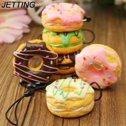 phone chain color Australia - JETTING 1PC Key Colorful Soft Kawaii Squishy Chain Straps Cute Donuts Charms Cell phone Straps Random Color Sent