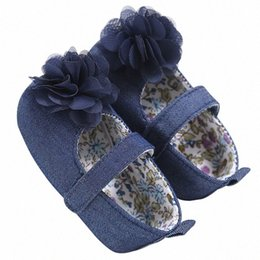 wholesale mary jane baby shoes Australia - Blue Colors Newborn Baby Prewalker Soft Bottom Anti-slip Shoes Footwear Classic Princess Girl Crib Mary Jane Big Flower Shoes sjH3#
