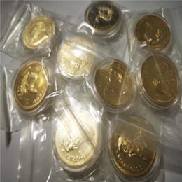 Großhandel Südafrika Krugrand Münze Einzelhandel Verkauf 2 teile / los Freies Verschiffen 24 Karat Gold Getreide Souvenir Münze 40 * 3mm Metall Sammlung Geschenk
