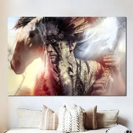 Discount indian abstract art paintings Native Indian with White Horse Animals Wall Art Pictures Painting Wall Art for Living Room Home Decor (No Frame)