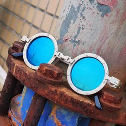 steam punk sunglasses Canada - Vintage Men Sunglasses Women Retro Steam Punk Style Round Metal Frame Colorful Mirror Lens Sun Glasses Eyewear Gafas sol mujer