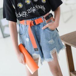 hot low hip jeans Canada - Girls hole jeans Jeans and shorts 2020 Summer new children's wear shorts big children's hip-hop hot pants parent-child wear