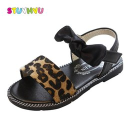 baby girls leopard print shoes Canada - 2019 Summer new girls sandals princess shoes fashion leopard baby kids girls shoes children's beach shoes slip flats wholesale Y200619