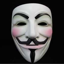 v for vendetta party props Canada - White V Mask Masquerade Mask Eyeliner Halloween Full Face Masks Party Props Vendetta Anonymous Movie Guy YYA200