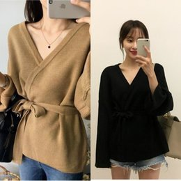 Wholesale brown cardigan for women resale online - 9TLfG Korean style Spring and Autumn loose solid color simple V neck waist knitted cardigan coat belt for women Coat sweater sweater sw