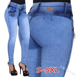 sexy clubwear plus size women UK - Bondage leggings Woman Autumn Winter Long Denim Pants High Waist Jeans Skinny Sexy Pants for Women Clubwear Plus Size S-5XL Trousers