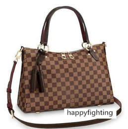 plastic grids UK - N40023 LYMINGTON Grid pattern brown Real Caviar Lambskin Le Boy Chain Flap Bag HANDBAGS SHOULDER MESSENGER BAGS TOTES