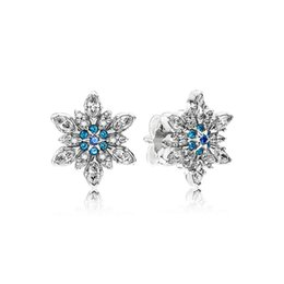 pandora snowflake NZ - Authentic 925 Sterling Silver Blue snowflakes Earring logo Signature with Crystal for Pandora Jewelry Stud Earring Women's Earrings