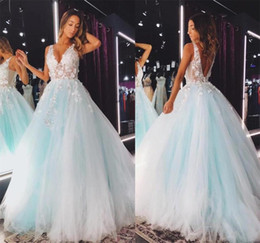 lovely chiffon prom dresses UK - Lovely 2021 Mint Prom Dresses V Neckline Sexy Backless Open 3D Lace Floral Tutu Skirt Party Dress Birthday Gowns